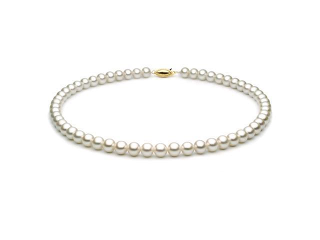 14k White Gold 8.5-9mm White Freshwater Cultured Pearl Necklace, AAA Quality