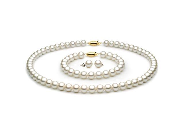 Unique Pearl White Freshwater Cultured Pearl 3-Piece Set - 14k White Gold, 7-7.5mm AAA Quality Pearls