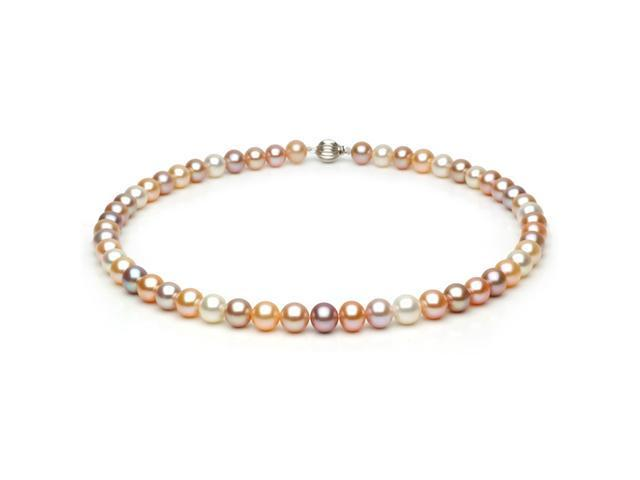 14k White Gold 8-9mm Multi-Color Freshwater Cultured Pearl Necklace AAA Quality, 18 Inch Princess