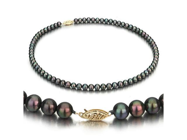 14k White Gold 5-6mm Black Freshwater Cultured Pearl Necklace AAA Quality, 16 Inch Choker