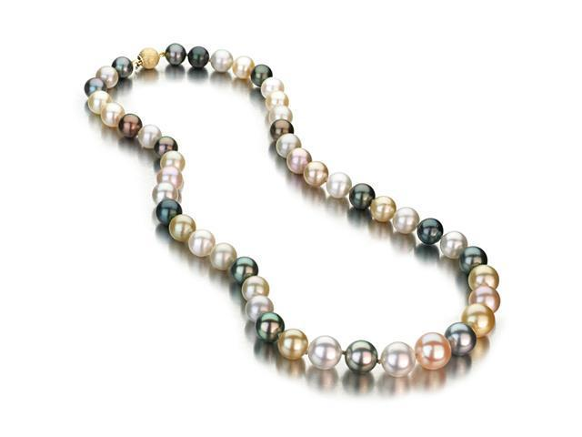 Multi-Color Cultured Pearl Necklace - 8-11mm, AAA Quality, Solid 14k Yellow Gold Ball Clasp, 18 Inch Necklace