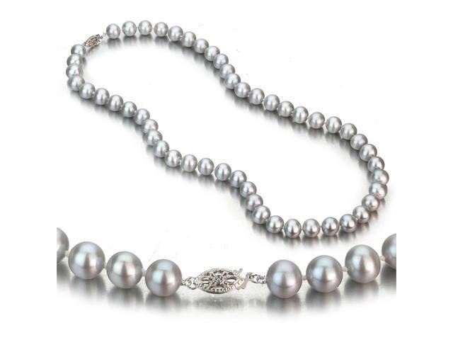 14k White Gold 8-9mm Grey Freshwater Cultured Pearl Necklace AA+ Quality Pearls, 18 Inch