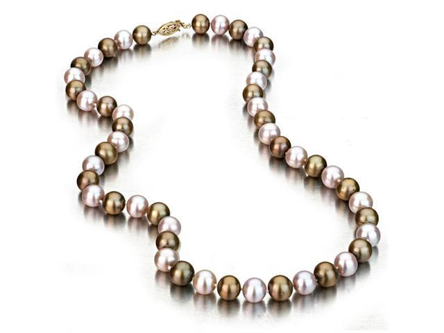 Multi Color Freshwater Cultured Pearl Necklace with Grean and Pink Pearls, 14k Yellow Gold Fishhook Clasp, 8-8.5mm AA+ Quality ...