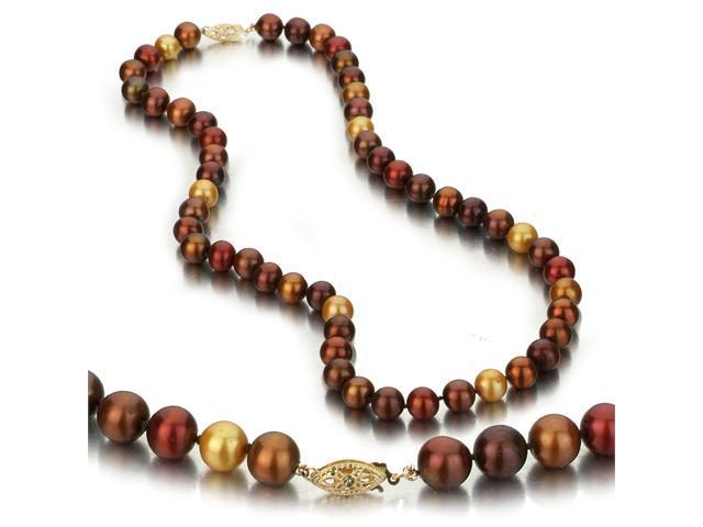 UniquePearl 14K Yellow Gold 8-8.5mm Multi Color Chocolate, Gold, and Cranberry Freshwater Cultured Pearl Necklace AA+ Quality Pearls, 18 Inch