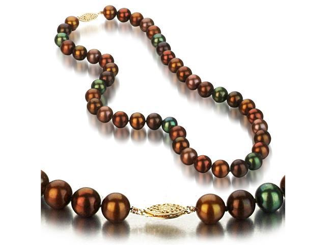 UniquePearl 14K Yellow Gold 9.5-10mm Multi Color Chocolate Freshwater Cultured Pearl Necklace AA+ Quality Pearls, 18 Inch