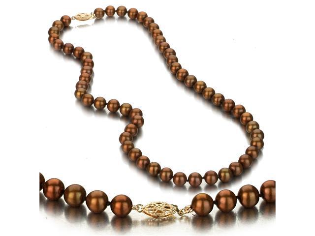 UniquePearl 14K Yellow Gold 7-7.5mm Chocolate Freshwater Cultured Pearl Necklace AA+ Quality Pearls, 18 Inch