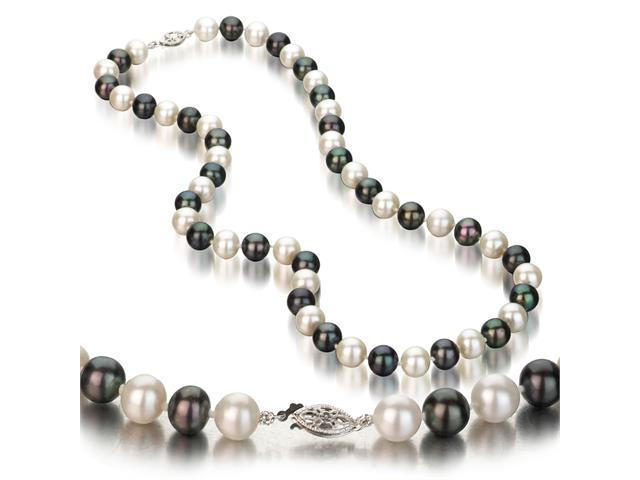 UniquePearl 14K White Gold 8-8.5mm Multi Color Black and White Freshwater Cultured Pearl Necklace AA+ Quality Pearls, 18 Inch