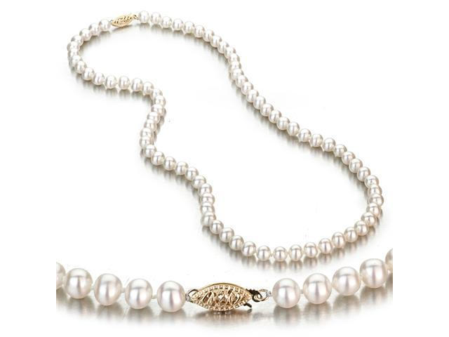 White Freshwater Cultured Pearl Necklace, 14k Yellow Gold Fishhook Clasp, 5-6mm AA+ Quality Pearls, 18 Inch Necklace