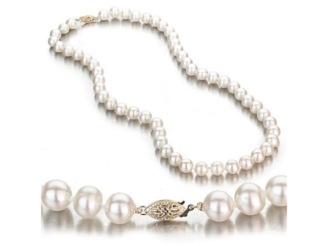 White Freshwater Cultured Pearl Necklace, 14k Yellow Gold Fishhook Clasp, 7-8mm AA+ Quality Pearls, 18 Inch Necklace