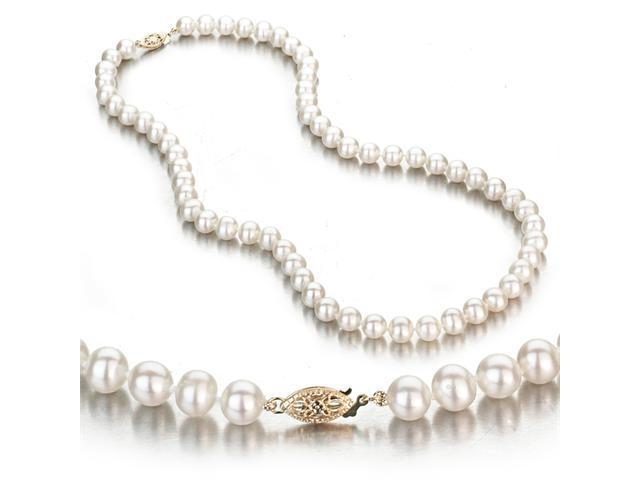 White Freshwater Cultured Pearl Necklace, 14k Yellow Gold Fishhook Clasp, 6-7mm AA+ Quality Pearls, 18 Inch Necklace
