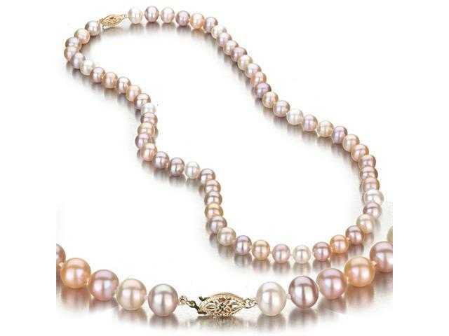 Multi-Color Freshwater Cultured Pearl Necklace, 14k Yellow Gold Fishhook Clasp, 7-8mm AA+ Quality Pearls, 18 Inch Necklace