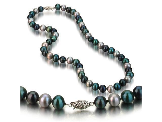 14k White Gold 7-8mm Multi-Color Freshwater Cultured Pearl Necklace AA+ Quality, 18 Inch