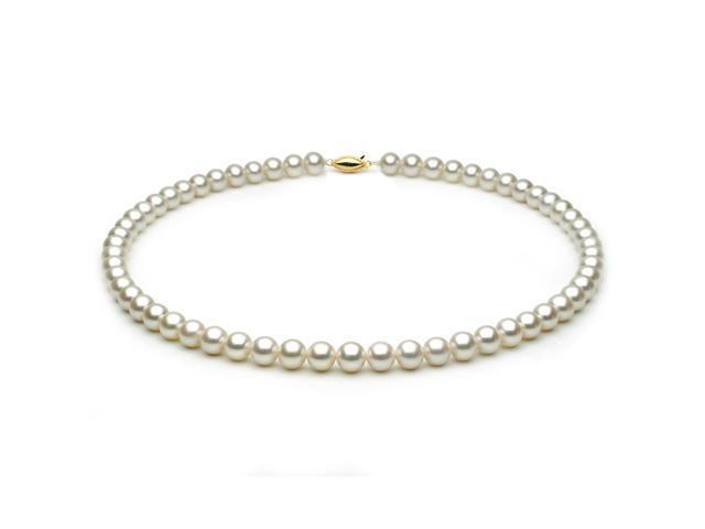 14k Yellow Gold 7.0-7.5mm White Freshwater Cultured Pearl Necklace AAA Quality, 18 Inch Princess