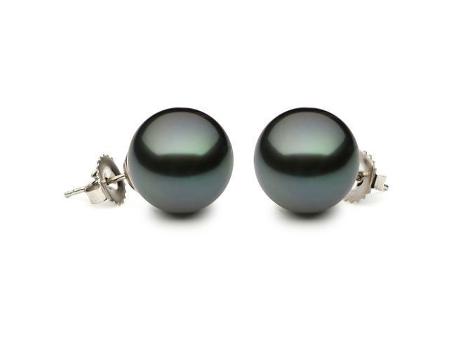 14K White Gold 8-9mm Black Tahitian South Sea Cultured Pearl Stud Earrings AAA Quality