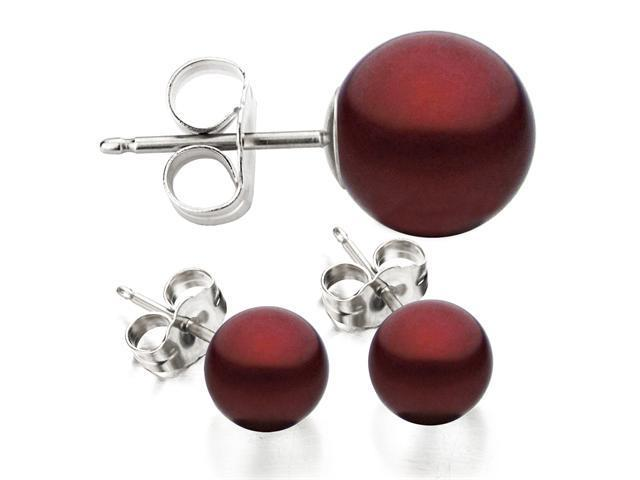 14k White Gold 8-9mm Cranberry Freshwater Cultured Pearl Stud Earrings AAA Quality