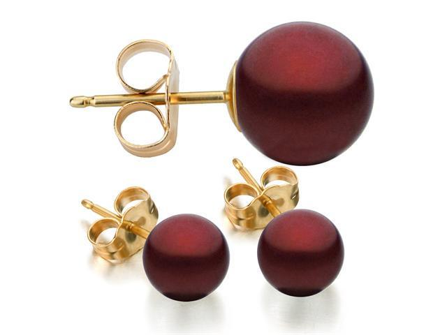 14k Yellow Gold 8-9mm Cranberry Freshwater Cultured Pearl Stud Earrings AAA Quality
