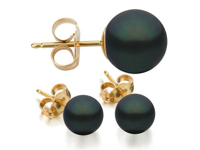 14K Yellow Gold 7-8mm Black Freshwater Cultured Pearl Stud Earrings AAA Quality