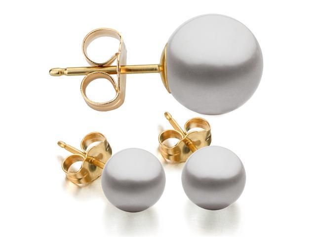 14K Yellow Gold 6-7mm Grey Freshwater Cultured Pearl Stud Earrings AAA Quality