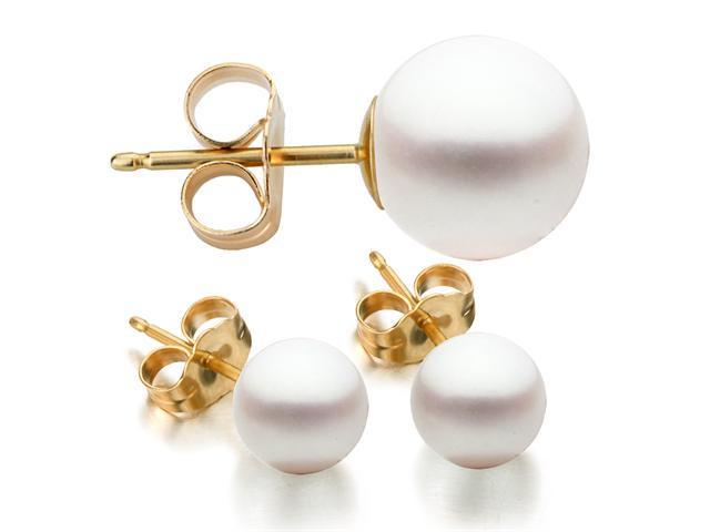 14K Yellow Gold 8-9mm White Freshwater Cultured Pearl Stud Earrings AAA Quality
