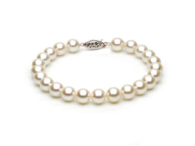 14k Yellow Gold 7-7.5mm White Japanese Akoya Saltwater Cultured Pearl Bracelet AAA Quality, 7 Inch