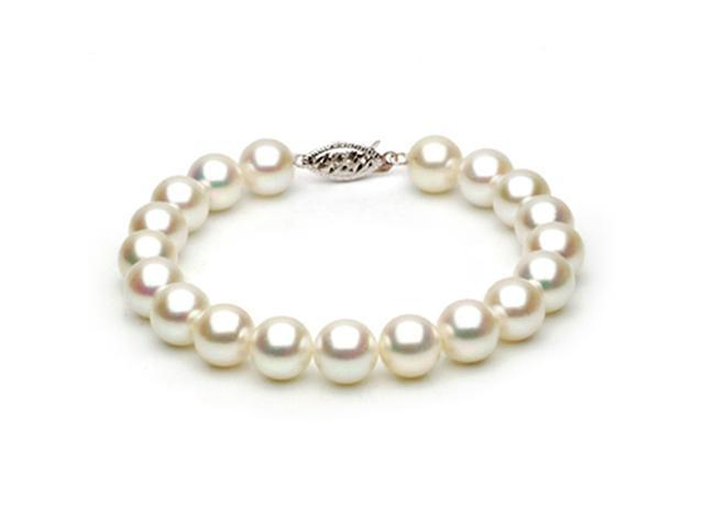 14k Yellow Gold 8-8.5mm White Japanese Akoya Saltwater Cultured Pearl Bracelet AAA Quality, 7 Inch