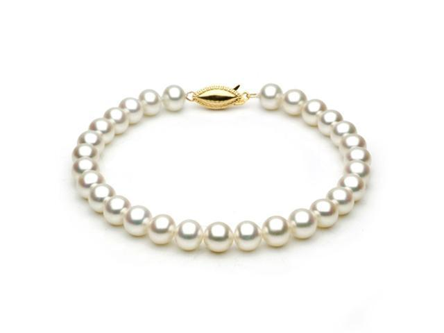 14k Yellow Gold 6.0-6.5mm White Freshwater Cultured Pearl Bracelet AAA Quality, 6 Inch