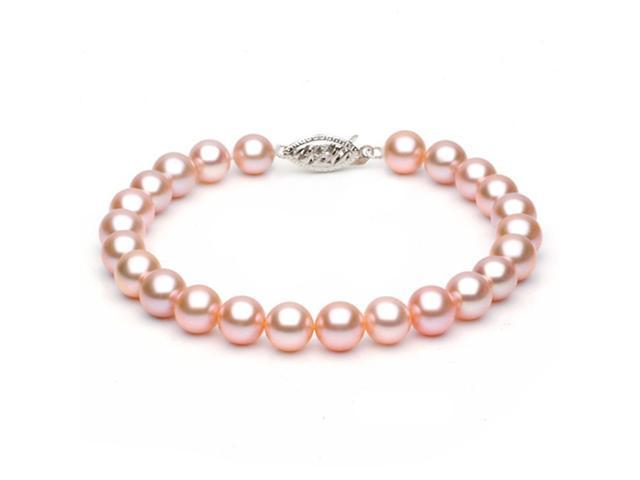 14k White Gold 6-7mm Pink Freshwater Cultured Pearl Bracelet AAA Quality, 7 Inch