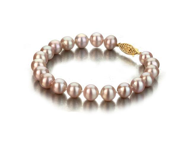 UniquePearl 14K Yellow Gold 8-8.5mm Lavender Freshwater Cultured Pearl Bracelet AA+ Quality Pearls, 7 Inch