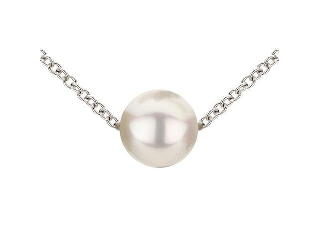 7-8mm White Freshwater Cultured Single Pearl Necklace AAA Quality, 18 Inch Stainless Steel Chain - Made For Adding Pearls