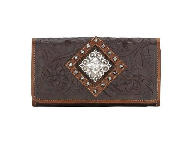 American West Ladies tri-fold wallet with snap closure