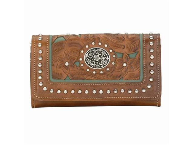 American West Lady Lace Tan Turquoise Collection Ladies' Wallet