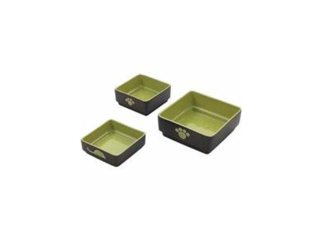 Ethical Pet Four Square Dog Dish, Green, 5 Inch - 6935