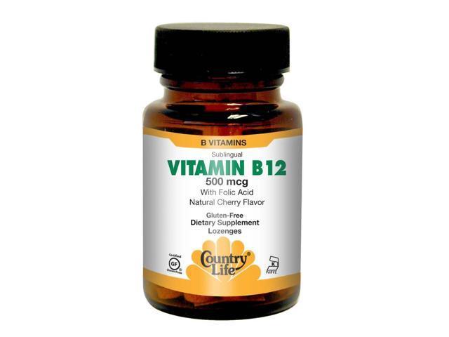 Vitamin B-12 500mcg - Sublingual - Country Life - 100 - Lozenge