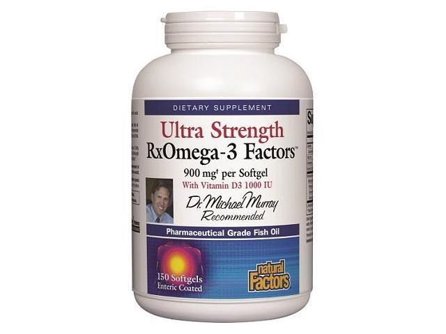 Ultra Strength RxOmega-3 900 mg With Vitamin D3 1000 IU Enteric-Coated - Natural Factors - 150 - Softgel