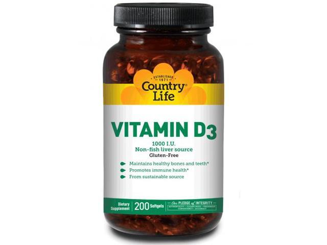 Vitamin D3 1,000 IU Non-fish liver source - Country Life - 200 - Softgel
