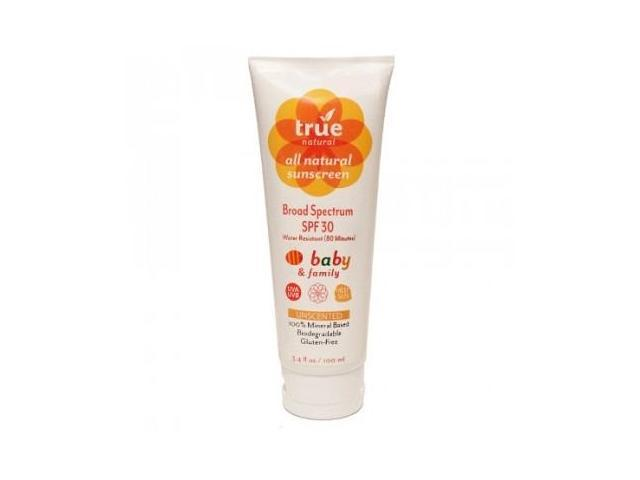 Sunscreen Broad Spectrum SPF 30 Baby & Family Water Resistant Unscented - True Natural - 3.4 oz - Lotion