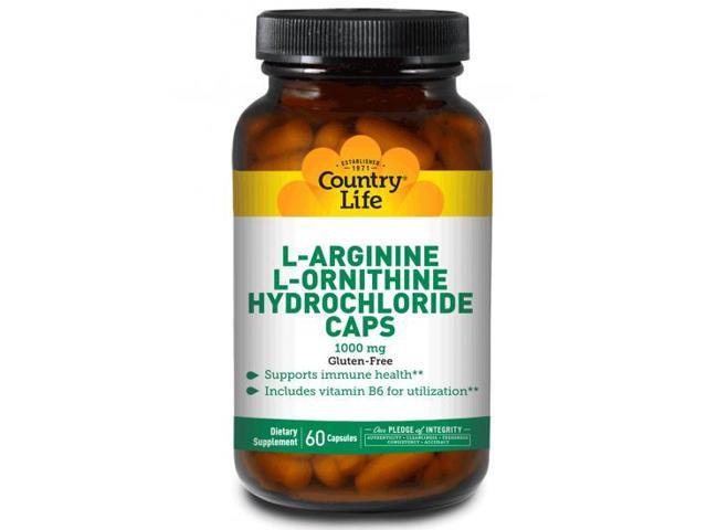 L-Arginine/L-Ornithine 1000mg with B6 - Country Life - 90 - Capsule