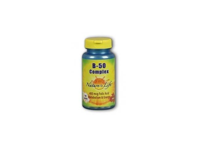 Vitamin B-Complex 50mg - Vegetarian, Yeast-Free - Nature's Life - 100 - Tablet