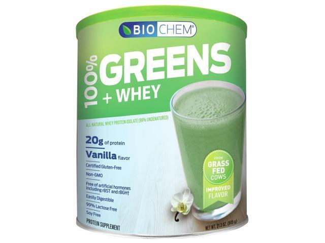 Greens & Whey Protein Powder (Vanilla) - Biochem - 22.7 oz - Powder