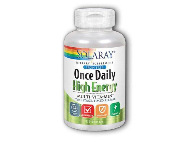 Once Daily Iron Free Two Stage - Solaray - 120 - Capsule