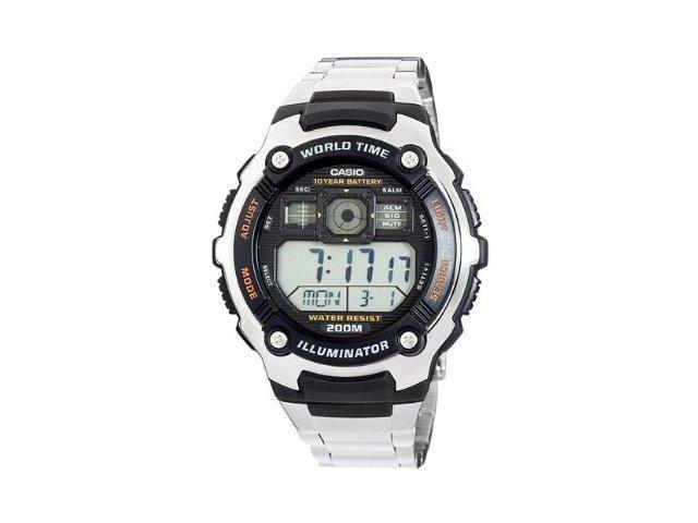Casio Men's AE2000WD-1AV Silver Stainless-Steel Quartz Watch with Black Dial