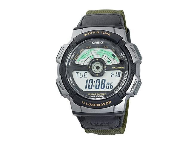 Casio Men's AE1100WB-3A Sport Multi-Function Dial Watch in Olive Green Nylon