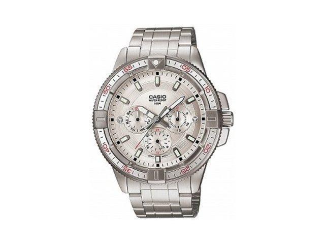 Casio Men's MTD1068D-7AV Silver Stainless-Steel Quartz Watch with Silver Dial