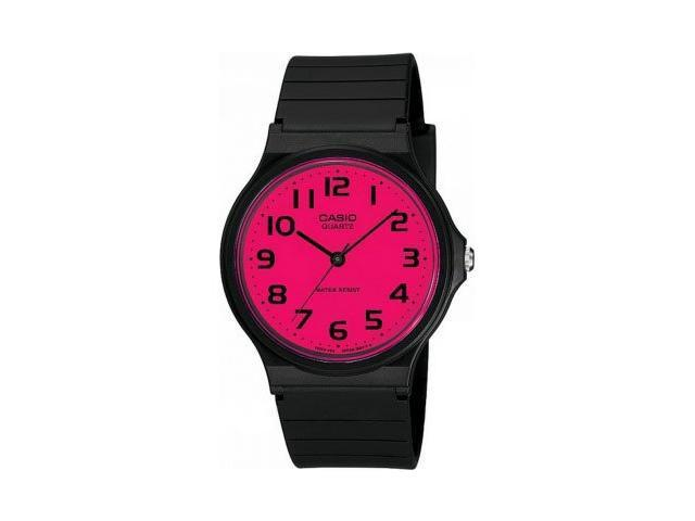 Casio Casual Watch Black Resin Strap and Pink Dial