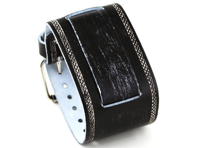 Nemesis Wide Black Leather Cuff Wrist Watch Band