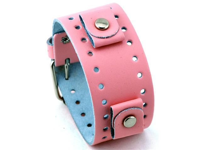 Nemesis #BN-P Pink Wide Leather Cuff Wrist Watch Band