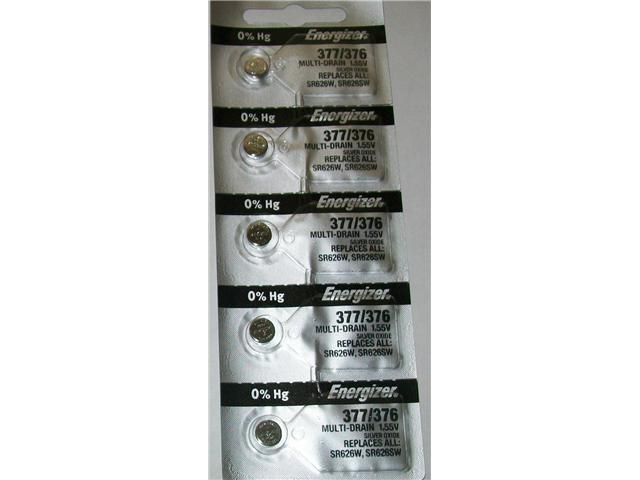 Energizer Battery 377/376 SR626W 1.55v (5 Batteries Per Pack)