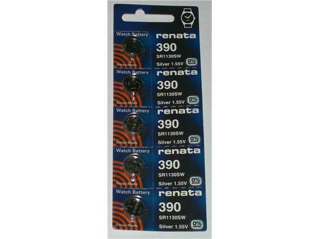 Renata Battery 390 SR1130SW Silver 1.55v (5 Batteries Per Pack)