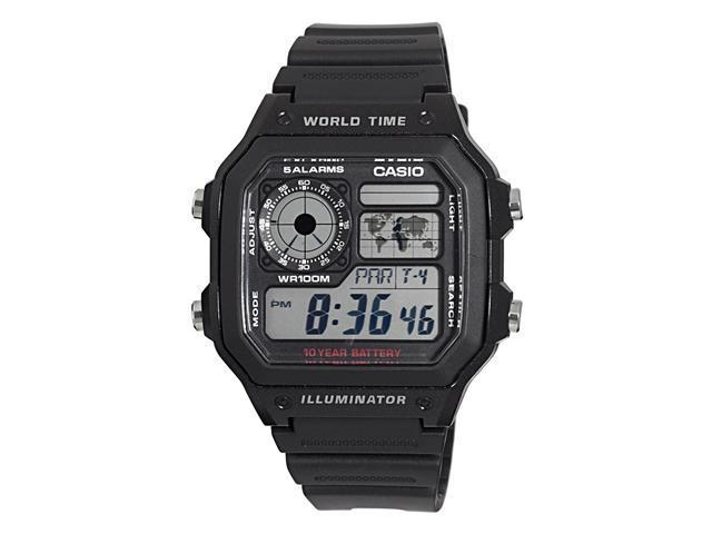 Casio #AE1200WH-1AV Men's Black Resin Strap World Time Chrono Alarm LCD Digital Watch
