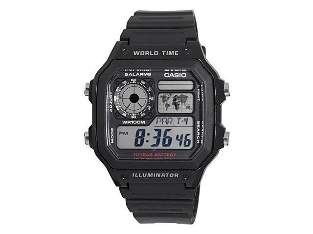 Casio #AE1200WH-1AV Men's Black Resin Strap World Time Chrono Alarm LCD Digital Watch